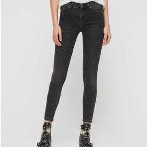 All Saints High Rise Cigarette Skinny Black Jeans